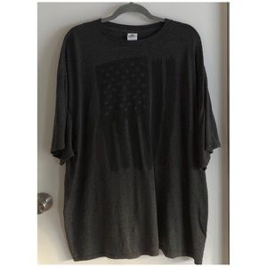 Men's Gray American Flag Tee Shirt Size 3XL
